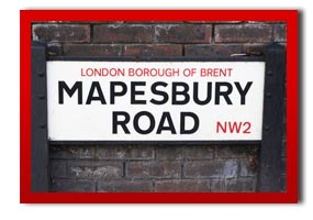 picture of a street sign in brent called mapesbury road