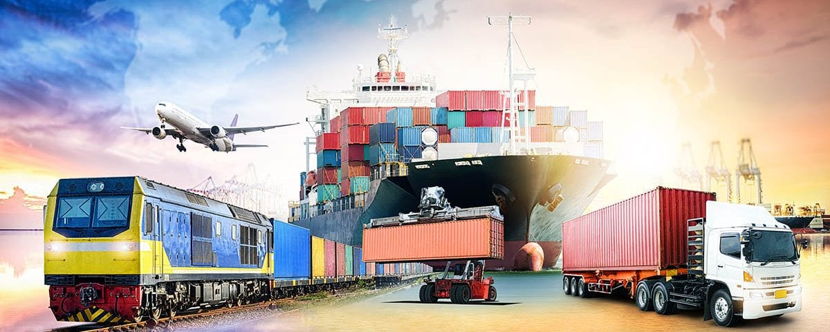 Train, Ship and Lorry With Cargo